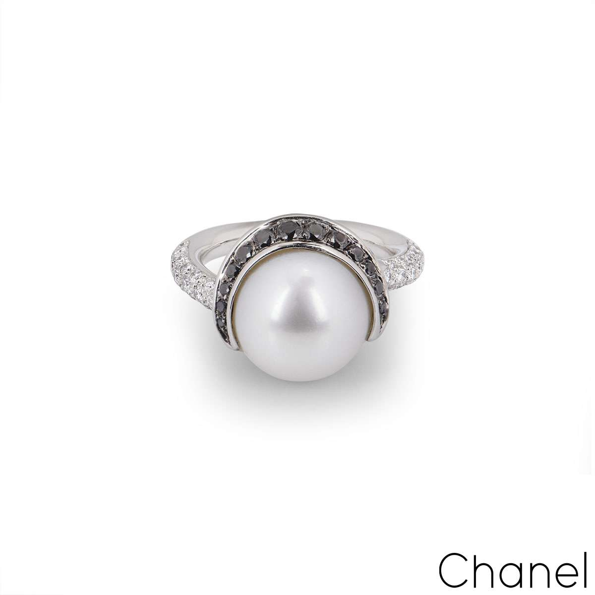 Chanel Platinum Diamond and Pearl Dress Ring